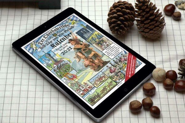 Der Kalender 2021 dargestelltauf einem Tablet