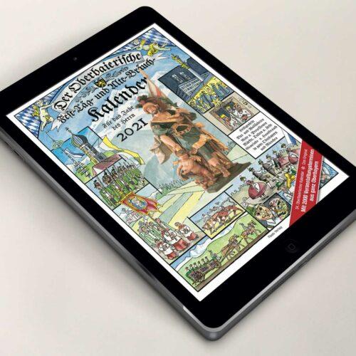 Der Kalender 2021 dargestellt auf einem Tablet